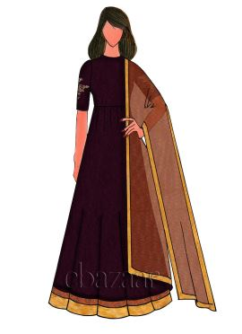 Beet Red Raw Silk Embroidered Anarkali Suit