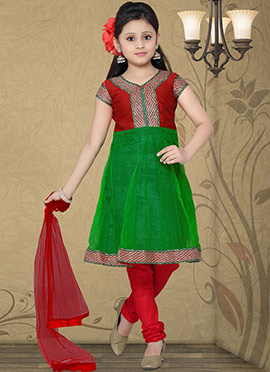 Beguiling Green Net Teens Anarkali Suit