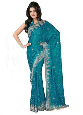 Beguiling Look Crystals Enhanced Chiffon Saree