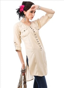 Beguiling off white cotton kurti