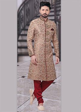 Beige Art Benarasi Silk Achkan Sherwani