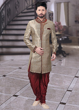 Beige Art Benarasi Silk Indowestern Sherwani
