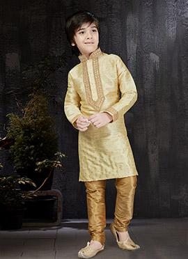 Beige Art Benarasi Silk Kids Kurta Pyjama