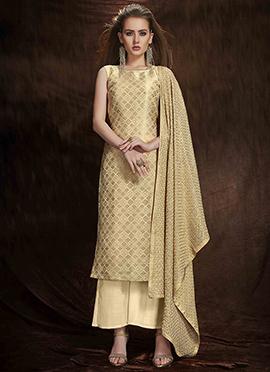 Beige Art Benarasi Silk Palazzo Suit