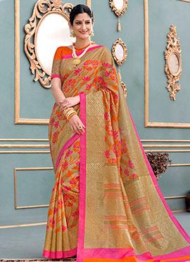 Beige Art Bhagalpuri Silk Saree