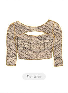 Beige Art Brocade Silk Blouse