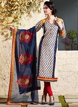 Beige Art Chanderi Silk Cotton Churidar Suit