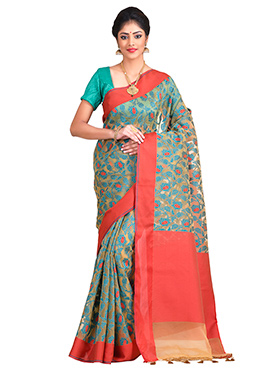 Beige Art Kora Silk Saree