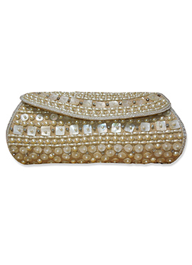 Beige Art Dupion Silk Clutch