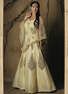 Beige Art Dupion Silk Gown