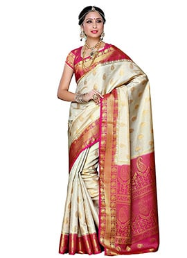 Beige Art Kancheepuram Silk Saree