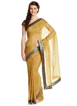 Beige Art Kota Silk Check Patterned Saree