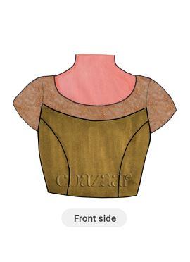 Beige Art Raw Silk Short Sleeve Blouse