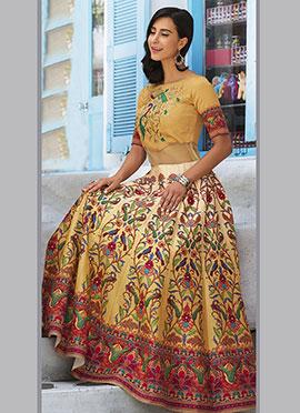 Beige Art Silk Anarkali Gown
