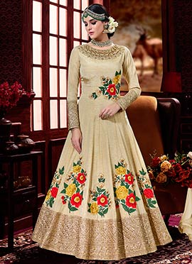Beige Art Silk Anarkali Suit
