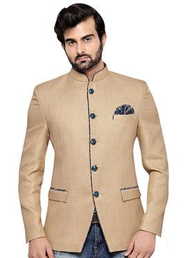 Beige Art Silk Bandhgala Jacket