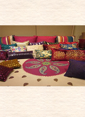 Beige Art Silk Bed Spread