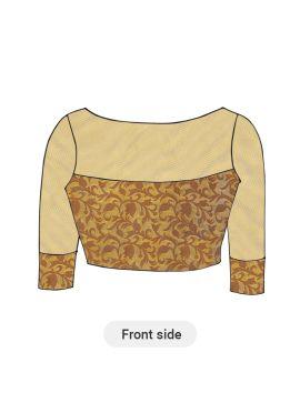 Beige Art Silk Brocade Blouse with Meadowlark Net sleeves