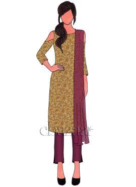 Beige Art Silk Brocade Cold Shoulder Chudidar Suit