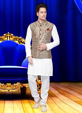 Beige Art Silk Brocade Nehru Jacket