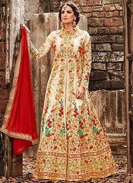 Beige Art Silk Center Slit Anarkali Suit