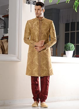 Beige Art Silk Chipkan Sherwani