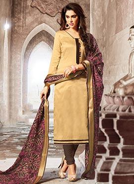 Beige art silk Churidar Suit