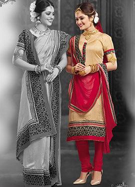 Beige Art Silk Churidhar Suit