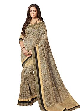 Beige Art Silk Cotton Saree