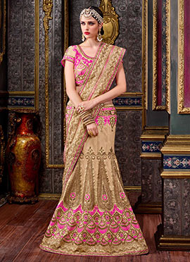 Beige Art Silk Fish Cut Lehenga Choli