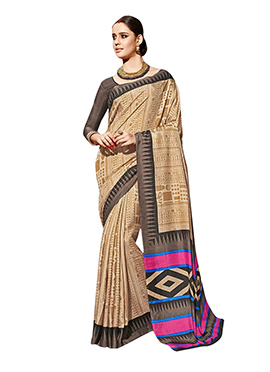 Beige Art Silk Geometric Patterned Saree
