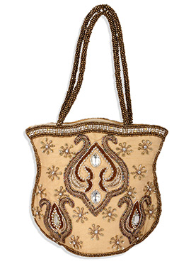 Beige Art Silk Hand Bag