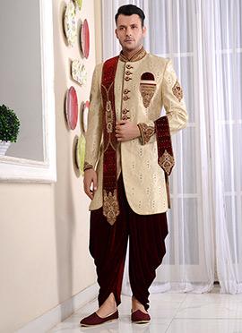 Beige Art Silk Indo Western Sherwani