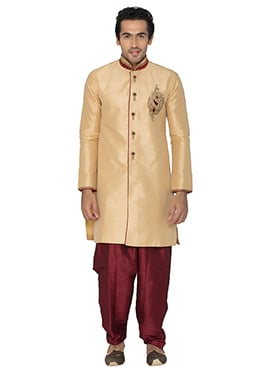 Beige Art Silk Indowestern Kurta Pyjama