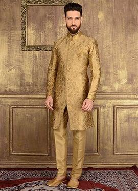 Beige Art Silk Indowestern Sherwani