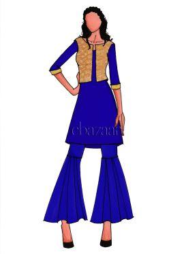 Beige Art Silk Jacket Patetterned Sharara Suit