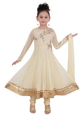 Beige Art Silk Kids Anarkali Suit