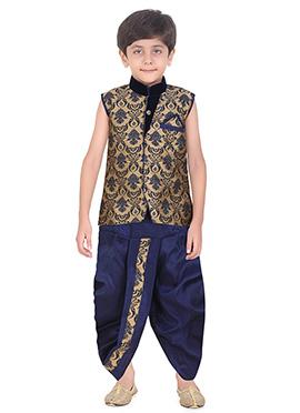 Beige Art Silk Kids Dhoti Kurta