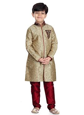 Beige Art Silk Kids Kurta Pyjama