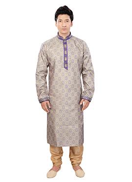Beige Art Silk Kurta Pyjama