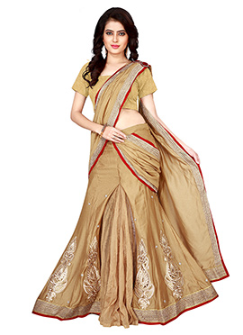 Beige Art Silk Lehenga Saree