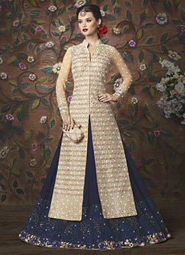 Beige Art Silk Long Choli A Line Lehenga