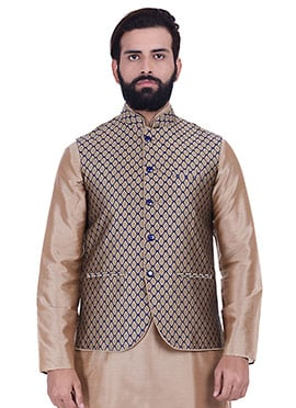 Beige Art Silk Nehru Jacket