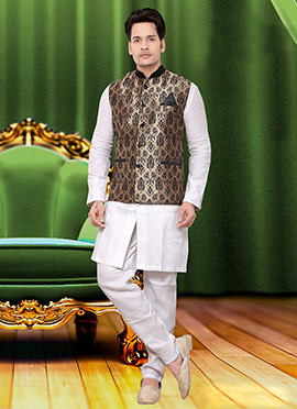 Beige Art Silk Nehru Jacket