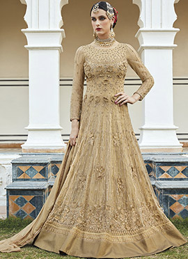 Beige Art Silk Net Abaya Style Anarkali Suit
