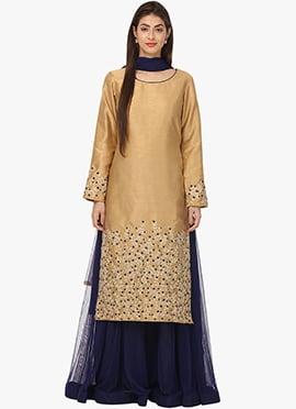 Beige Art Silk Net Palazzo Suit