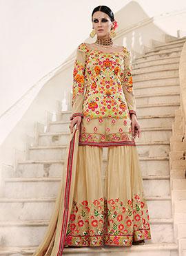 Beige Art Silk Net Sharara Suit