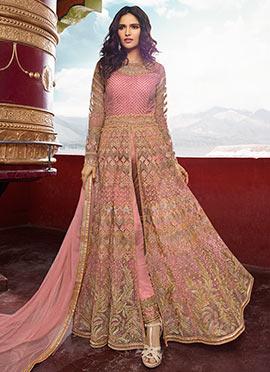 Beige Art Silk Palazzo Suit