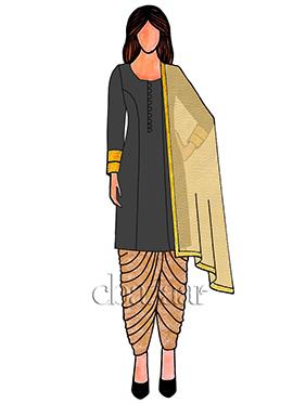 Beige Art Silk Patiala Suit