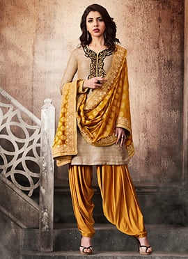 Beige Art Silk Salwar Suit